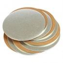 Diametro da 22 a 40 cm. Vassoio Oro e Argento Alti 4 mm. Cake Board in cartone pesante bordo liscio.