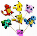 Pokemon Cake Topper. 24 Sagome colorate