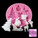 Stampo in silicone Natalizio con Albero e Babbo Natale Renna Slitta e Regali