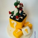Torta decorata in pasta di zucchero Mario Bros