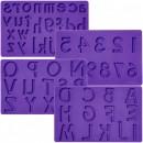 Alfabeto con Lettere Maiuscole, Minuscole e Numeri. Set di 4 Stampi in silicone.