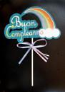 Buon Compleanno Celeste con Arcobaleno e Fiocco. Cake Topper