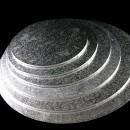 Cake Board da 25 a 80 cm. Argento. Vassoio Tondo con spessore 13 mm