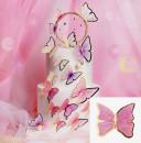 Farfalle volanti con Ali Rosa e bordi Oro. Sagoma Cake Topper