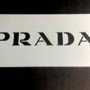 Prada Logo 20x10 cm. Stencil Griffe Moda Fashion.