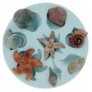 Stampo in silicone Mare di 8 forme di Conchiglie, Paguri e Stelle Marine.
