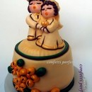 Torta decorata in pasta di zucchero Innamorati