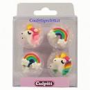 Unicorno. Set di 12 decorazioni in zucchero a tema Unicorno e Arcobaleno. Culpitt