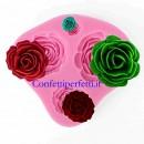 4 piccole Rose. Stampo in silicone