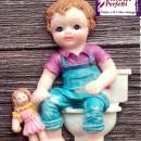 Bambina in Bagno con Bambola. Stampo in silicone