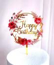 Buon Compleanno in cerchio di Fiori. Happy Birthday. Cake Topper