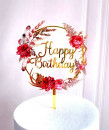 Buon Compleanno in cerchio di Fiori Rossi. Happy Birthday. Cake Topper