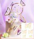 Farfalle volanti con Ali Bianche e bordi Oro. Sagoma Cake Topper