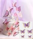 Farfalle volanti con Ali Lilla e bordi Oro. Sagoma Cake Topper