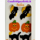Halloween. Zucca Pipistrello e Gatto nero. Decorazioni di zucchero