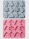 Stampo Natale con 12 forme. Fiocco di neve, Babbo Natale, Cappello, GingerBread e Pupazzo di neve