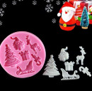 Stampo Natale con Albero e Babbo Natale Slitta e Renna