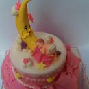 "Torta decorata in pasta di zucchero ""La luna canta una ninna nanna al Bebè"""