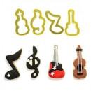 Musica. Stampo di Violino, Chiave di violino, Nota musicale e Chitarra.