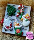 Albero e Babbo Natale Pupazzo di Neve e Regali. Stampo Natale