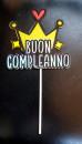 Buon Compleanno con Corona. Cake Topper