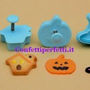 Halloween. Zucca di Halloween Cappello della strega Fantasmino Casa dei fantasmi. Set 4 Stampi espulsione Tagliapasta.