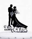Mr e Mrs. Cake Topper Sposi. Silhouette sagoma nera
