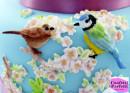 Pappagallo e Uccellini sul ramo in Fiore. Stampo in silicone