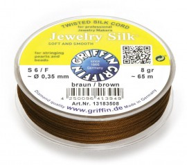 FILO SETA PER PERLE MARRONE SU BOBINE/BROWN GRIFFIN BEAD CORD ON SPOOLS immagini