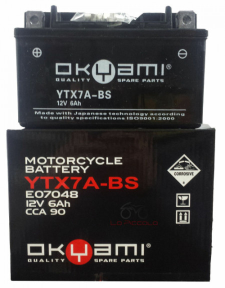 BATTERIA OKYAMI OTX7A-BS COMPATIBILE GS YUASA YTX7A-BS SYM SYMPHONY 50 125 150 200