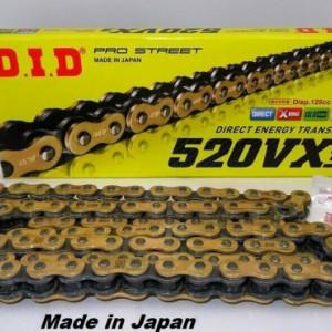 DID CATENA MOTO TRASMISSIONE 520 VX2 120 MAGLIE X-RING GOLD & BLACK