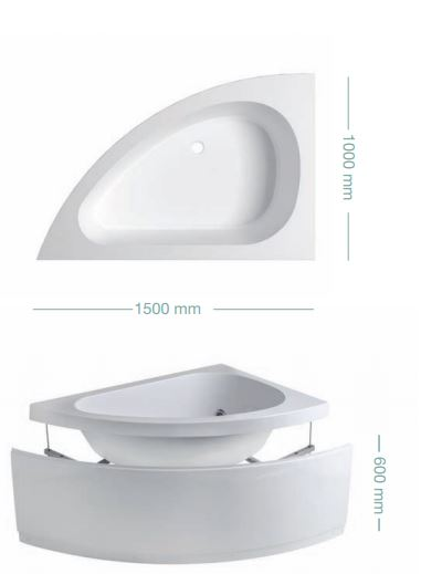Vasca da bagno asimmetrica sharm2 - Vasca da bagno piccola 120 ...