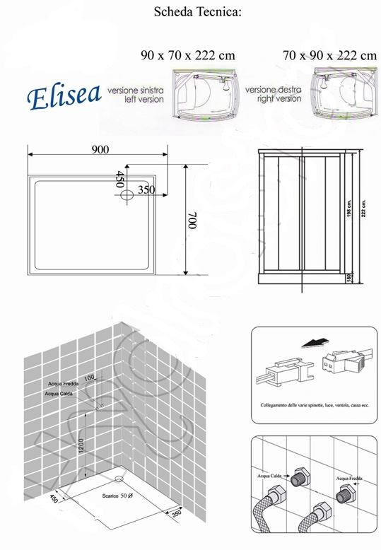 Box Doccia Con Cristallo Colorato : Cabina doccia idromassaggio quot elisea