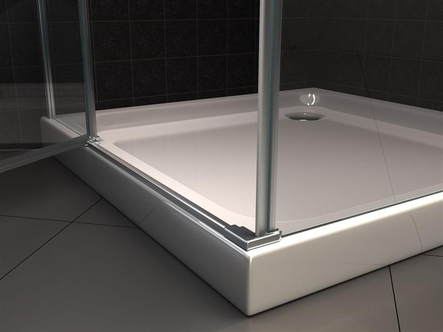 Box doccia in cristallo con doppia porta battente 051 - Box doccia da esterno ...