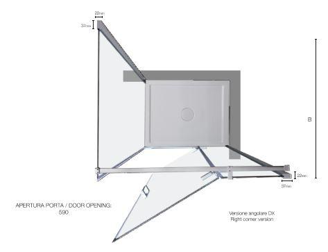 Altezza Standard Cabina Doccia.Box Doccia Con Porta Battente B8mill Infinity
