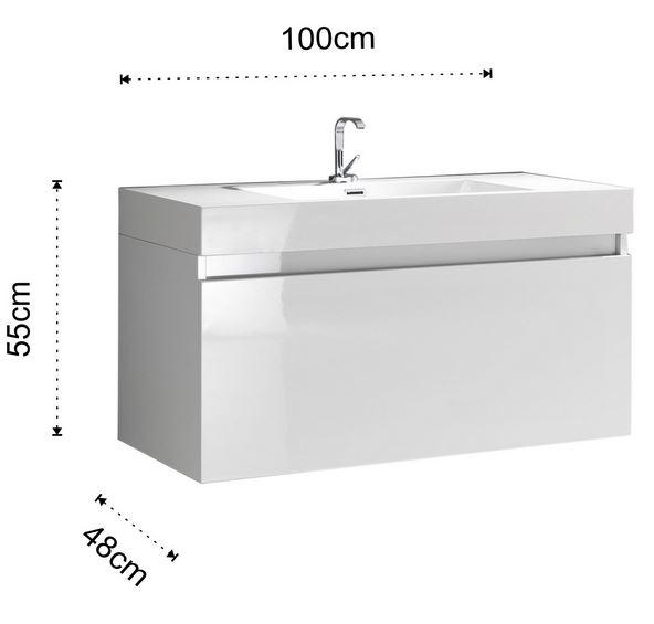 Composizione arredo bagno a 1000 bianco - Mobile bagno misure ...