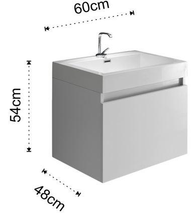 Composizione arredo bagno a 600c for Misure bagno