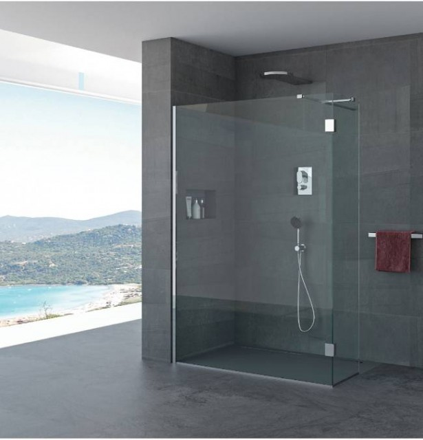 Parete doccia elvira profili in acciaio inox - Box doccia vetrocemento ...
