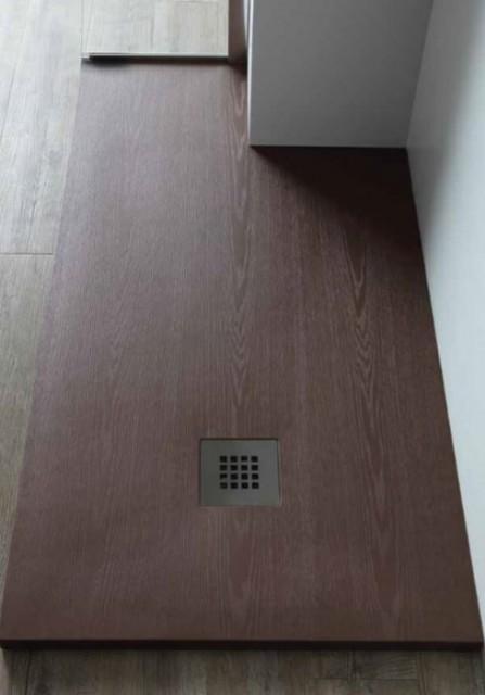 Piatto doccia rettangolare con texture legno in for Doccia rettangolare