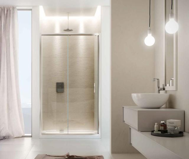 Porta scorrevole in cristallo per doccia a nicchia young - Nicchie in bagno ...