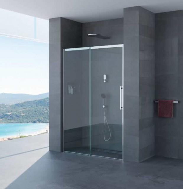 Porta scorrevole per doccia a nicchia gaia profili in acciaio inox - Doccia in nicchia ...