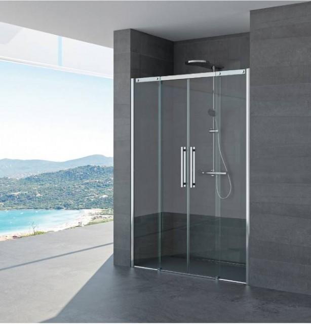Porta scorrevole per doccia a nicchia irene profili in acciaio inox - Porta scorrevole per doccia ...