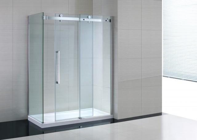 Box doccia in vetro trasparente con anta fissa porta scorrevole amaa - Box doccia in vetro prezzi ...