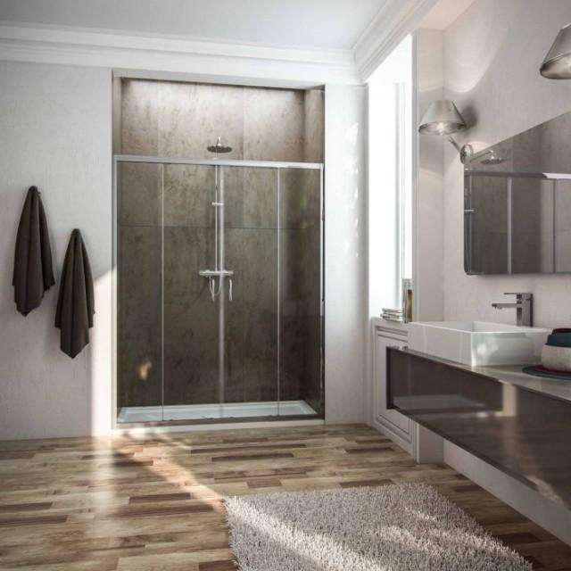 Porta scorrevole a 2 ante per doccia a nicchia replay - Porta doccia nicchia prezzi ...
