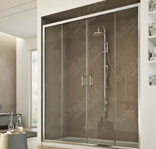 Porta scorrevole a 2 ante per doccia a nicchia replay - Porta scorrevole per doccia ...