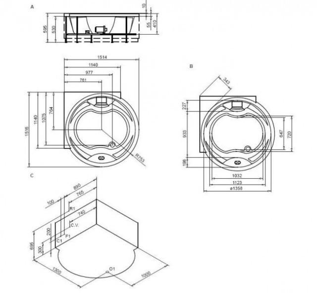 Vasca idromassaggio creta glass 150cm - Vasca da bagno circolare ...