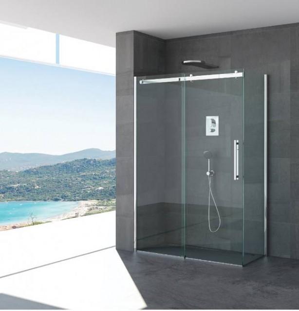 Box doccia porta scorrevole anna profili in acciaio inox for Design moderno della cabina