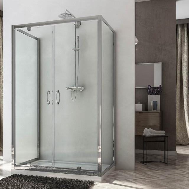 Box doccia centro stanza con 2 porte saloon sintesi - Porta doccia saloon ...