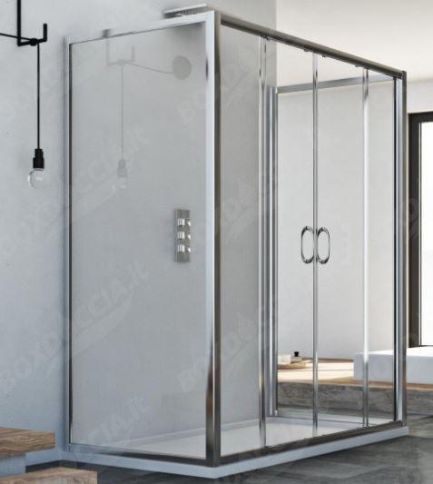 Box doccia centro stanza doppia porta scorrevole replay - Porta scorrevole doppia ...