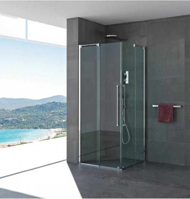 Box doccia doppia porta scorrevole celeste profili in - Doccia senza porta ...